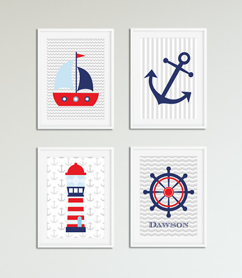 Boys Nautical Bedroom Prints / Pictures, Personalised with Name, Bedroom Nursery