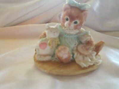 "Enesco Calico Kittens "" Friendship is Sewn Stitch by Stitch"" 1992"