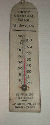 OLD FIRST NATIONAL BANK WOODEN THERMOMETER 1920s MILDRED PA 3% Interest Paid