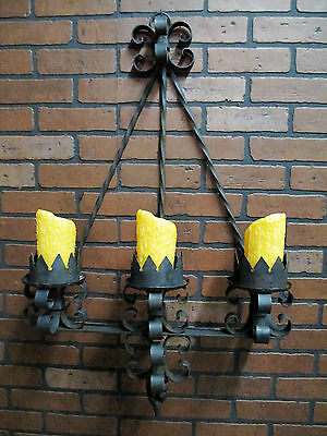 Vintage Antique Hand Wrought Iron Gothic Spanish Revival Mission Wall Sconce