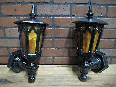 PAIR Large Vintage Antique Cast Iron Porch Lights 1920's Gothic Tudor Restored