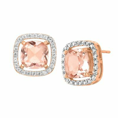 3 1/2 ct Simulated Morganite & CZ Stud Earrings in 18K Rose Gold-Plated Silver