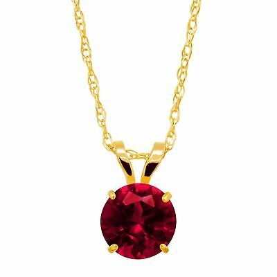 1 ct Created Ruby Round-Cut Solitaire Pendant in 10K Gold