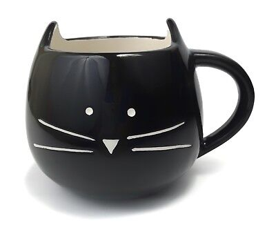 TAG Cat Coffee Mug Ceramic Cup - Black White Hand Painted Whiskers - Brand New