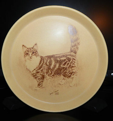 Vintage Crescendo Memento Lesley Probart Main Coon Pottery Cat Plate England