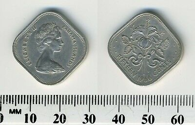 Bahamas 1966 - 15 Cents Copper-Nickel Coin - Q. Elizabeth II, Hibiscus - 4-sided