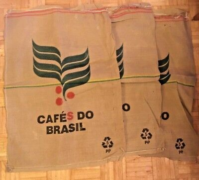 Lot of 3 Burlap Coffee Bag Gunny Sack Cooxupe Brasil Red Green Crafts Sewing