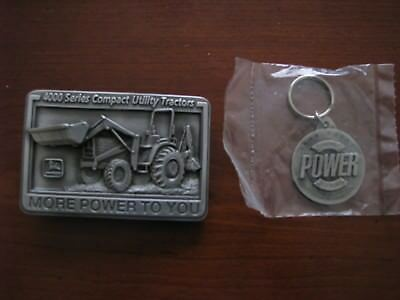 John Deere belt buckle 4000 series compact utility tractor and key chain
