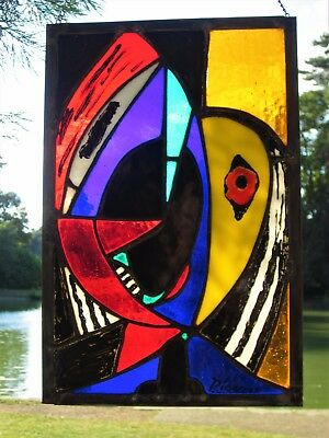 Abstract Picasso Stained Glass Panel 'Head Of A Woman' - 260mm x 380mm