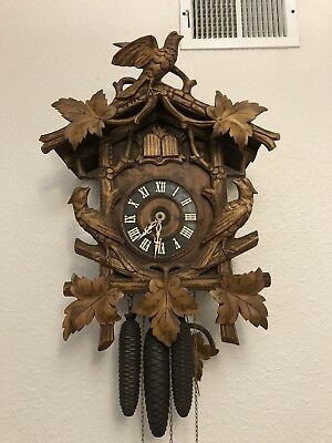 ANTIQUE LARGE QUAIL CUCKOO CLOCK BLACK FOREST GERMANY RARE 1890's