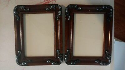 Pair of dark wood 5 x 7 ornate picture frame