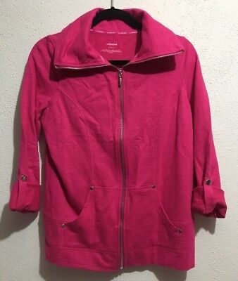 Size M NEW Lizwear Active Jacket Full Zip 3//4 Long Sleeve Lightweight Purple