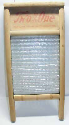 vintage TWO in ONE Jr. Carolina Washboard Co GLASS and WOOD Raleigh NC