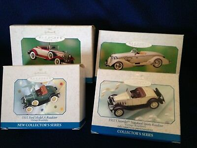 Lot of 4 Hallmark ornaments. Vintage Roadsters collection 1998-2001.
