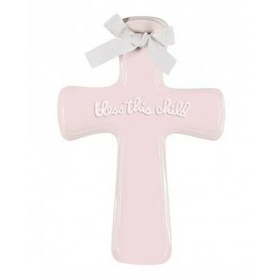 """SALE Bless This Child Ceramic Cross Pink 5.25"""" x 7"""" Wall Cross New Box"""