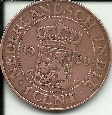 Netherlands East Indies 1 Cent Coin, 1920