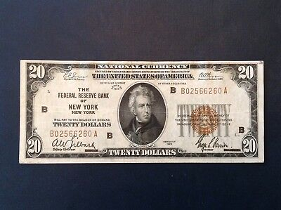 - 1929 $20 National Currency Federal Reserve Bank of New York, NY