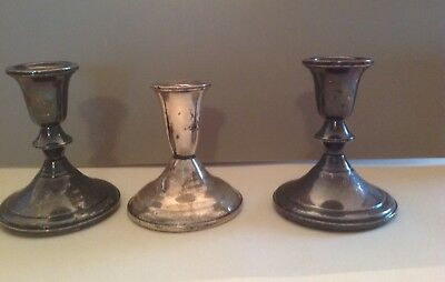 Sterling Candle Holders Set Of 3