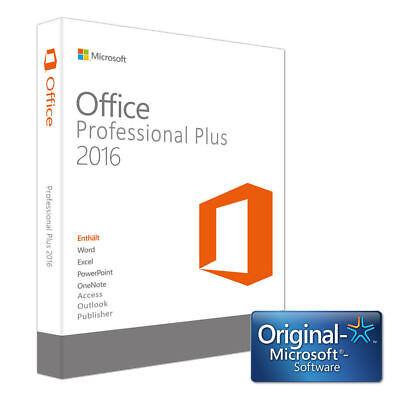 Microsoft Office 2016 Professional Plus 1 PC Windows Vollversion KEIN Abo