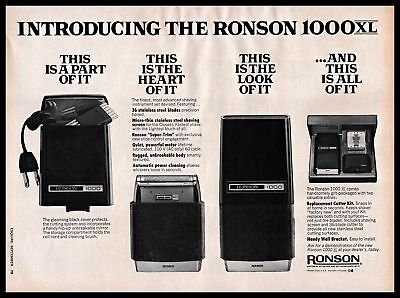 1971 Ronson 1000 XL Electric Shaver Trimmer Stainless B&W 1970s Vintage PRINT AD