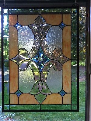 """Beveled Stained Glass Window Panel 19 x 26"""" Made in USA"""