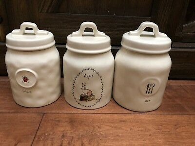 Rae Dunn Ladybug Rabbit Hop Eat Dragonfly Canister Jar