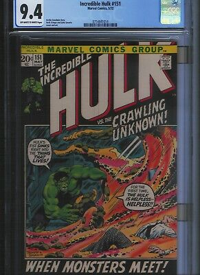 Incredible Hulk # 151 CGC 9.4  Off White to White Pages. UnRestored.