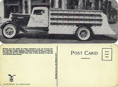 Coca Cola Richfield Truck Post card vintage 1930s  never used very nice 80+yrs