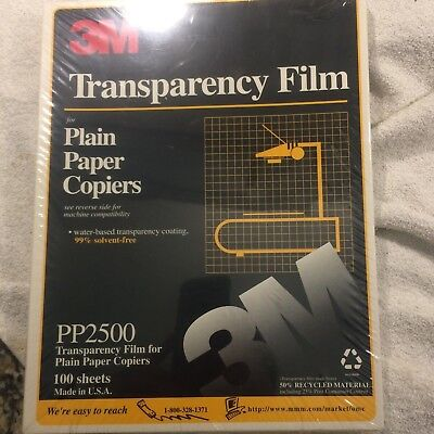 3M Transparency Film for Plain Paper Copiers-100 Sheets-8 1/2 X 11-NEW SEALED