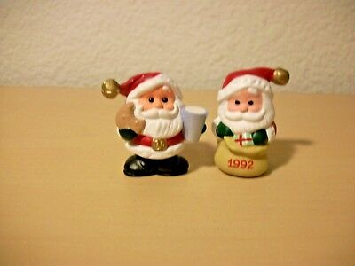 Hallmark Miniature Santa with bag 1992, and Sand with Cup and Cookie