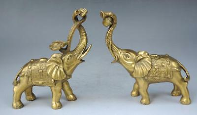 Chinese Brass Copper Feng shui Animal Yuanbao wealth Elephants A Pair Statue