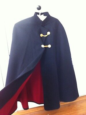 Vintage Nurse Cloak Cape Wool Navy Blue Red Lined MARVIN NEITZEL Troy N.Y.