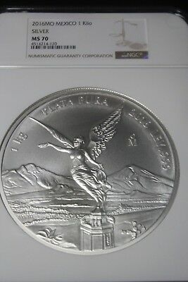 2016-Mo Mexico 1 Kilo Silver Libertad NGC MS70Free Priority Shipping with Sig.