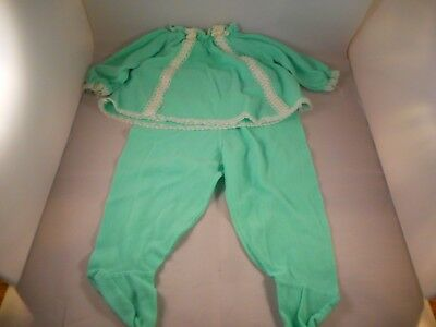 2 Piece Vintage Child Baby Doll Girl Clothing Outfit Footed Pajamas Green Lace