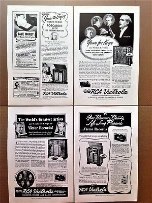 Various RCA ads Victrola, Victor, Radio Corp of America 1938-1965 Johnny Carson
