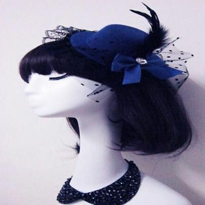 Fashion New Top Bow Lady Party Hat Feather Fascinator Lace Hair Clip Cap