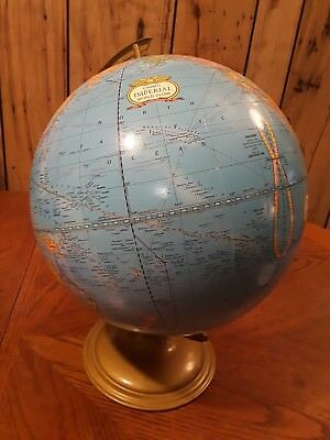 VINTAGE CRAMS IMPERIAL WORLD GLOBE MADE IN USA METAL BASE  Relief Map of World