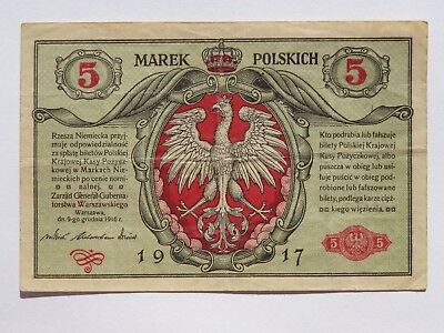 1917 Poland 5 Marek Second Issue Pick# 10 Vf Super Nice! Must See!!