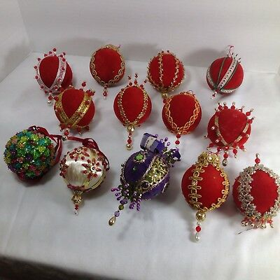 Vtg Hand Made Victorian Velvet Satin Beaded Sequin Christmas Ornament Lot of 15
