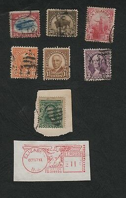 E1585)    Small Lot Of Old U.s.a. Stamps - Includes 24 Cent Airmail, All Used