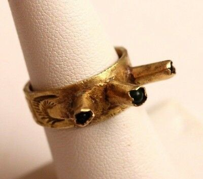 Vintage UNUSUAL Brass or Bronze Handmade Ring, Prongs with Cabochons  Sz 7