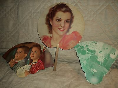 (3) Vintage Hand Held Advertising Fans