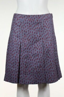 Marc By Marc Jacobs Womens Skirt Size 2 Gray Floral Pleated Silk Knee Length