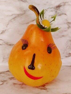 Vtg PRISCILLA PEAR Kitschy Advertising Anthropomorphic Plastic Fruit Coin Bank