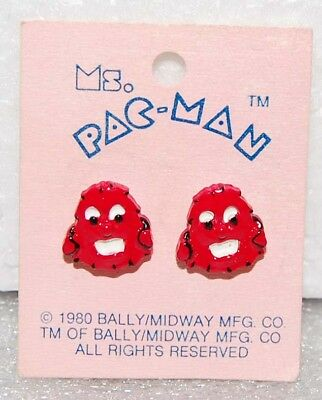 1980 PAC-MAN EARRINGS by Bally Midway Original MOC vintage - Red Ghosts?