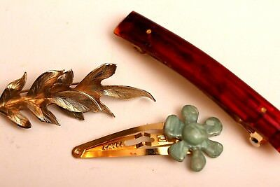Three Vintage Barrettes, Made in France, Brown Lucite Swirl, Gold tone Leaves