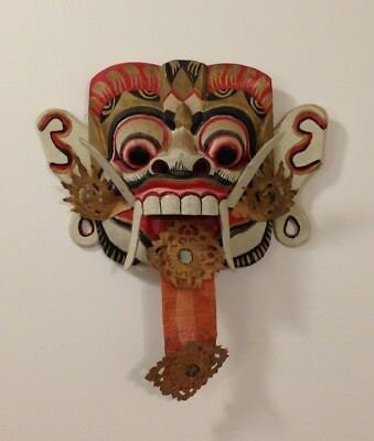 Colorful Bali Indonesian Wooded Handcrafted Painted Mask