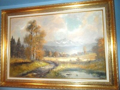 OIL PAINTING w/ Gorgeous Gold Gild WOOD FRAME Signed by Artist