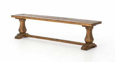 "72"" Emma Dining Bench W Oak Top Bleach Douglas Fir Waxed Bleached Pine Reclaime"