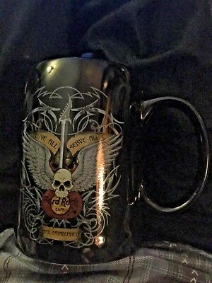 HARD ROCK CAFE LARGE BLACK COFFEE CUP/MUG ATLANTIC CITY Guitar, Skull With Wings